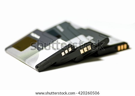 stack of mobile phone batteries