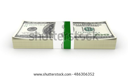 Stack of money american hundred dollar bills isolated on white background 3d