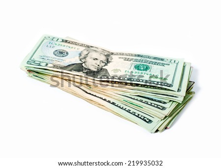 Stack of money american twenty dollar bills over white - stock photo