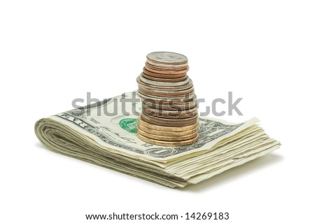 Stack of Money & Coins Isolated on a White Background. - stock photo