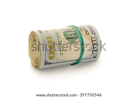 Stack of money dollars bounded by rubber band isolated on a white background - stock photo