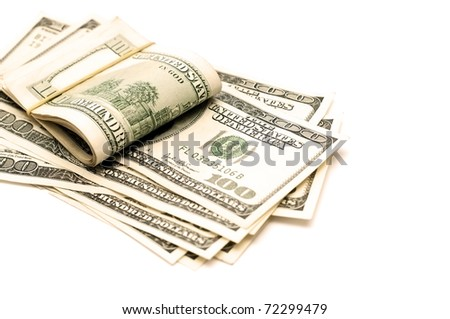 Stack of money on the white background - stock photo