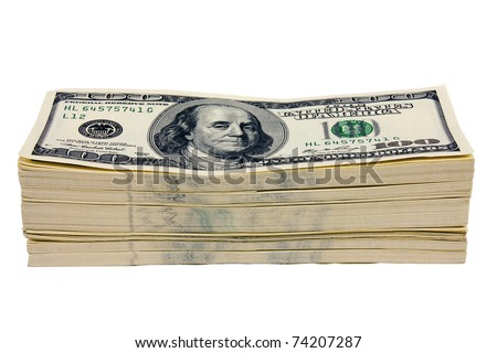 Stack of money on white isolated background