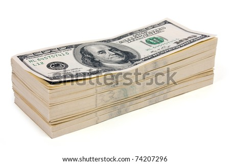 Stack of money on white isolated background - stock photo