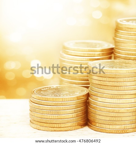 stack of money, rows of coins for finance and banking concept