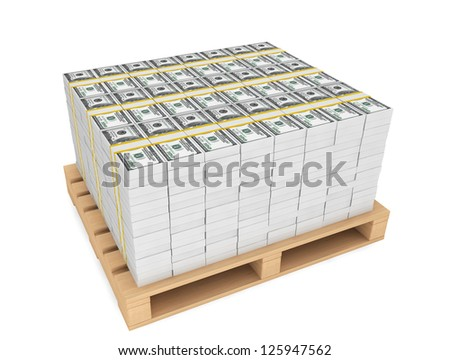 Stack of money with wooden pallet on a white background - stock photo