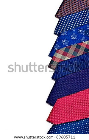 Stack of neck ties on white background - stock photo