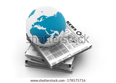 Stack of newspaper with globe