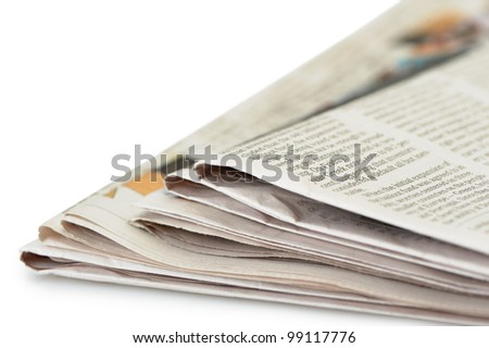 Stack of newspapers. A photo close up. Selective focus - stock photo