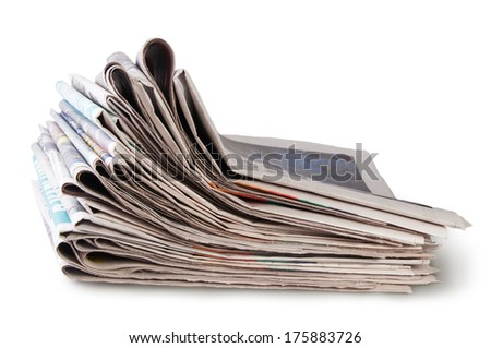 Stack Of Newspapers Isolated On White Background - stock photo