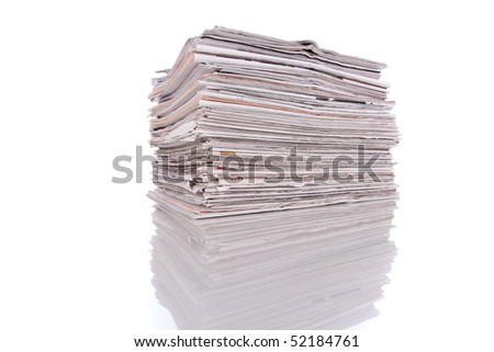stack of newspapers (selective focus) - stock photo