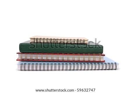 Stack of notebook isolated on white - stock photo