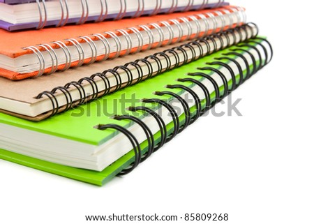 stack of notebook isolated on white background, office equipment
