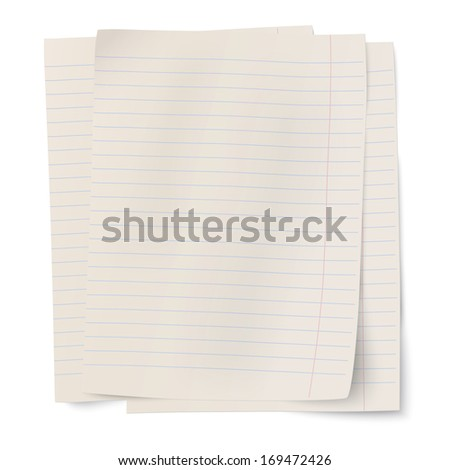 Stack of notebook paper sheets isolated on white background. Raster version illustration. - stock photo