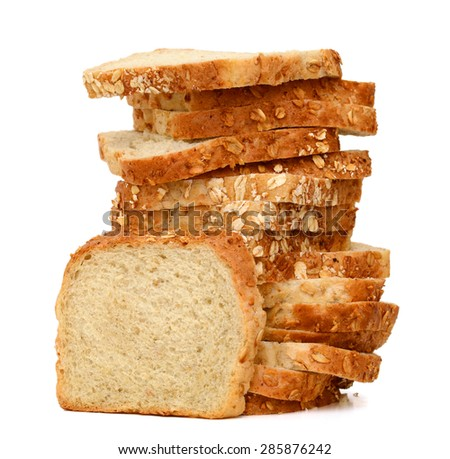 stack of oat bread slices isolated on white  - stock photo