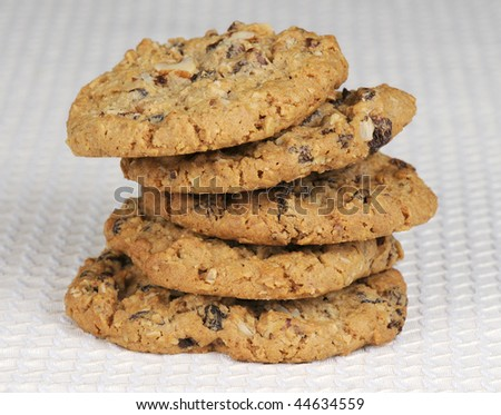 Stack of oatmeal and raisin cookies - stock photo