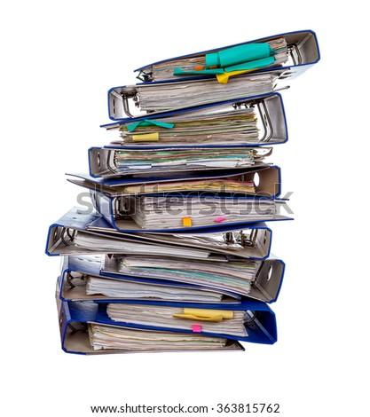 Stack of office folders isolated over white background - stock photo
