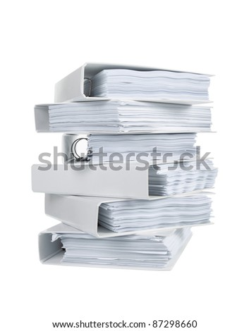 Stack of office ring binders in isolated white - stock photo