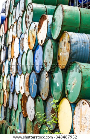 stack of oil barrels - stock photo
