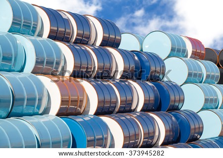 Stack of Oil barrels at oil refinery area - stock photo