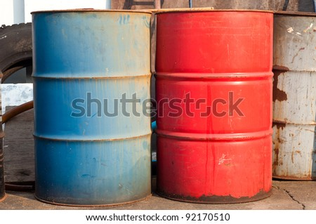 Stack of oil drums - stock photo