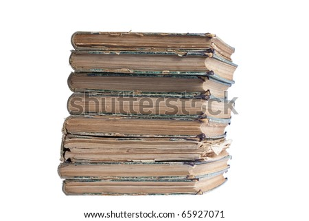 stack of old antique books isolated on white