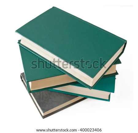 Stack of old antique books isolated on white background - stock photo