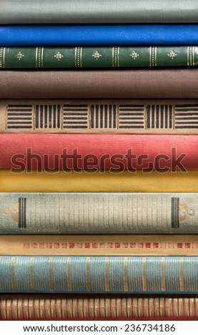 Stack of old books. - stock photo