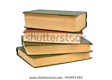 stack of old books isolated on white - stock photo