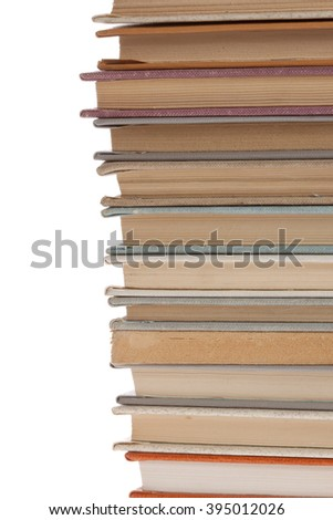 stack of Old books isolated on white. stack of books on a white background. Books thin small - stock photo