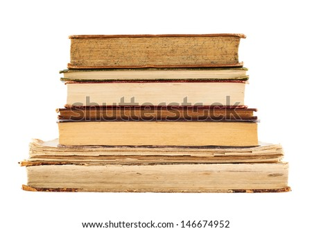 Stack of old books isolated over white background - stock photo