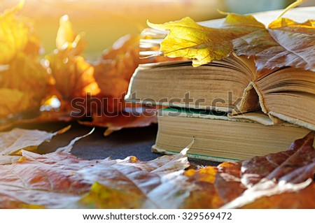 Stack of old books on the table among the dry yellow maple leaves and bright sunlight. Shallow depth of field - selective focus at the book's spine  - stock photo