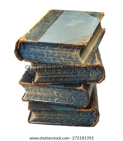 stack of old books on white background, isolated with a clipping path - stock photo