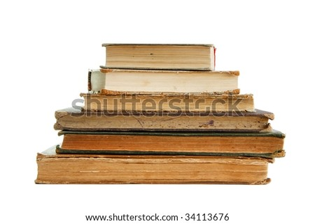 Stack of old books seen from pages isolated