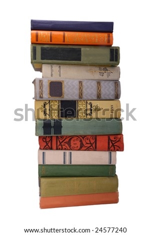 stack of old color books isolated 2 - stock photo