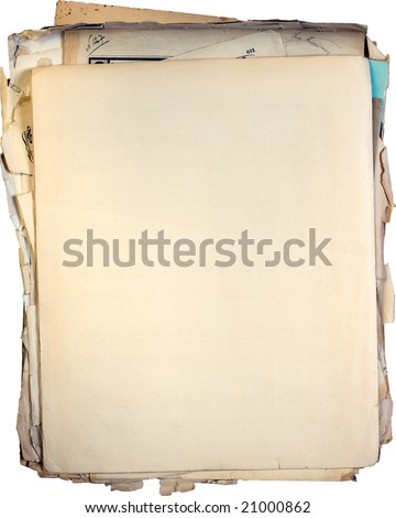 Stack of old documents and blank paper on top. Clipping path included - stock photo
