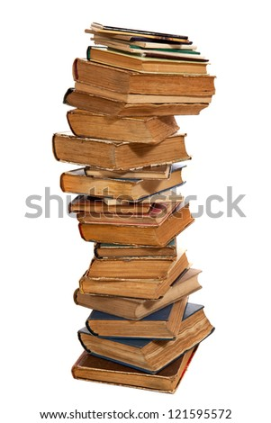 Stack of old hardcover books isolated on white