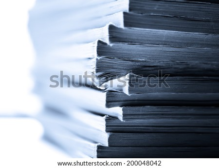 Stack of old magazines as background - stock photo