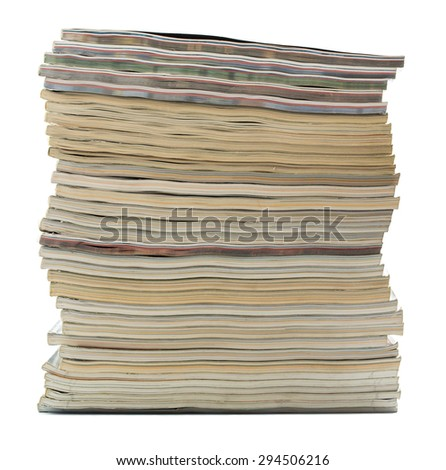 Stack of old magazines isolated - stock photo