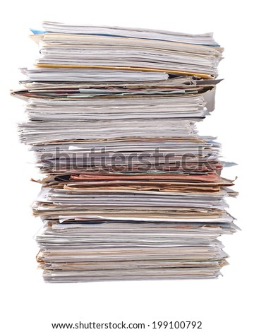 Stack of old magazines on a white background