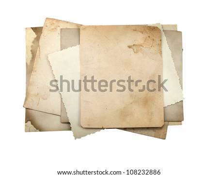 Stack of old photo paper, isolated on white. - stock photo