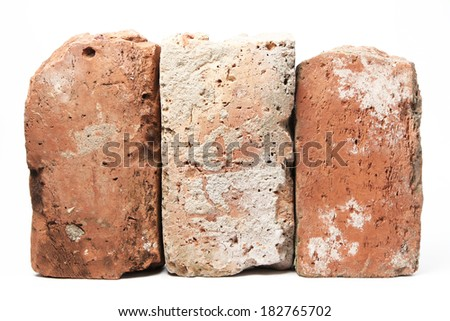 Stack of old red bricks