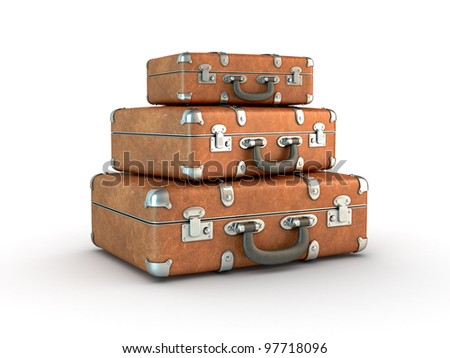 Stack of old suitcases. Clipping path included. Computer generated image. - stock photo