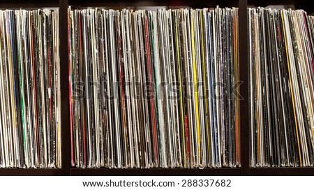 Stack of old vinyl records. closeup - stock photo