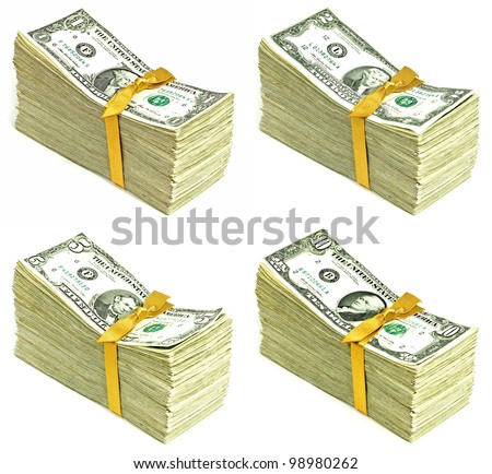 Stack of Older United States Currency Tied in a Ribbon - Ones, Twos, Fives and Tens - stock photo