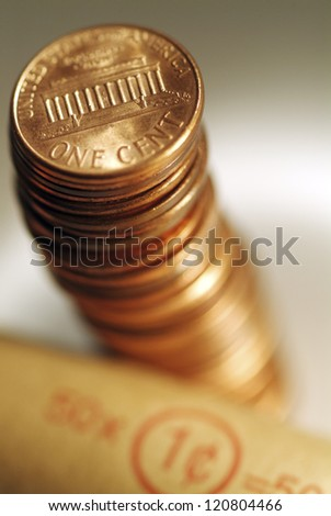Stack of one cent coins .Shallow focus .