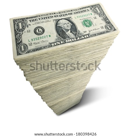 Stack of one-dollar bills on white background - stock photo