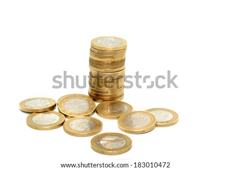 Stack of one Euro coins in front of a white background - stock photo