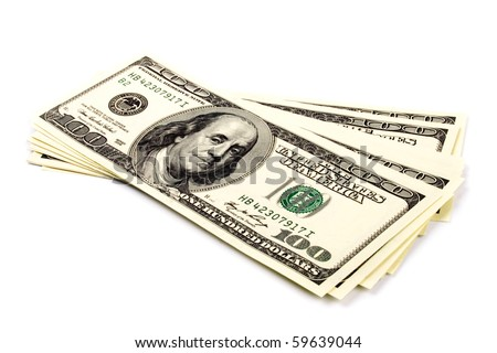 stack of one hundred dollar bills U.S. on white background - stock photo