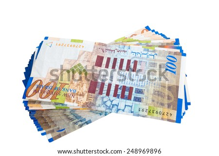 Stack of one hundred new sheqalim isolated on white background - stock photo